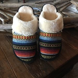 Slippers striped Mexican blanket fabric 9-10